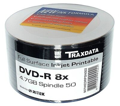 Ritek 50 Spindle Pack Blank Dvd Discs Dvd-R Full Face Inkjet Printable 8X 4.7Gb