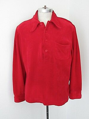 Vtg 70's Bright Red Velour LS Polo Rugby Disco Pimp Pullover Shirt XL