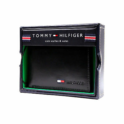 New Tommy Hilfiger Real Black Leather Genuine Coin Wallet Credit Card ID for Men