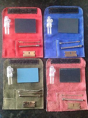 SNORTER SNIFFER SNUFF TUBE POWDER DISPENSER SUEDE KIT POUCH Free Uk delivery
