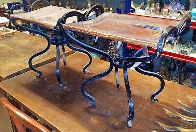 Pair Of Stools. Wrought Iron And Leather. Catalan Modernism. Early 20Th Century