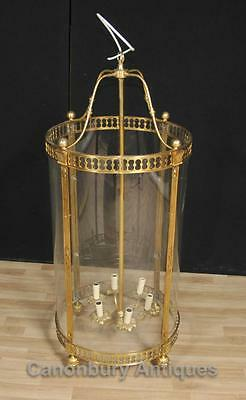 French Empire Brass Lantern Glass Chandelier Lighting Light • CAD $1,867.63