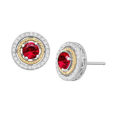 1 1/3 ct Created Ruby & 1/8 ct Diamond Stud Earrings, Sterling Silver & 14K Gold