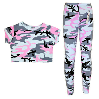 Girls Kids Pink Camouflage Print Crop Top Leggings Set 7 8 9 10 11 12 13 Years