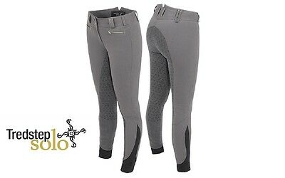 Tredstep Solo Grip Ladies Breeches in Grey. Full Seat