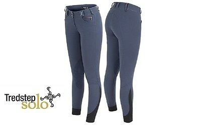 Tredstep Solo Grip Ladies Breeches in French Blue. Knee Patches