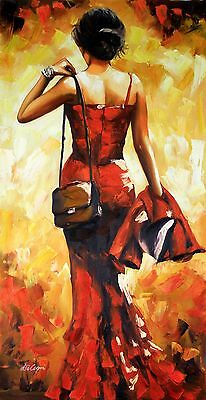 Di Capri Original Oil Painting On Canvas | Contemporary Art | Lady In Red | 03