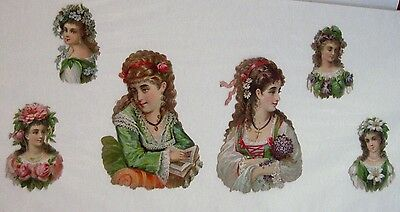 Vintage Victorian Gorgeous 6 Pcs.Set of Die Cuts w/ Stunning Woman & Flowers(N)*