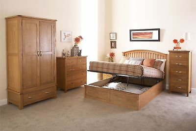 Madrid Wooden Ottoman Bed Gas Lift Up Storage Curved Shaker Style Oak 4Ft6 5Ft