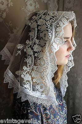 ~Evintage Veils~ White Embroidered Lace Chapel Veil Mantilla  Latin Mass