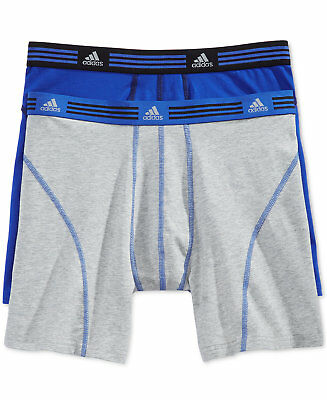 ADIDAS 2-pack ClimaLite Athletic Stretch Performance(Grey/Blue) Boxer Briefs Men