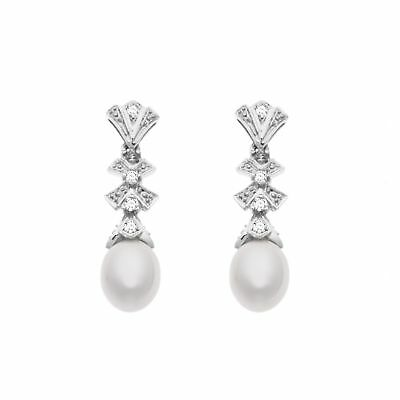 Freshwater Pearl and 1/8 ct Diamond Drop Earrings in 14K White Gold