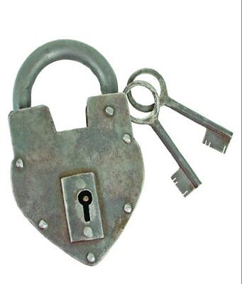 Antique Reproduction Heart Padlock with 2 Skeleton Keys INsideOUT, New, Free Shi