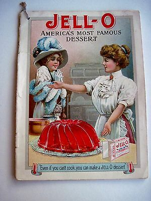 "Vintage RARE 1900's ""Jell-O"" Dessert Booklet w/ Colored Pictures & Recipes (N) *"