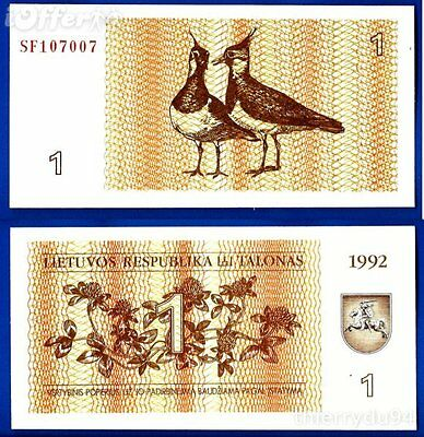 LITHUANIA 1992 1 Talonas full UNC bundle of 100 pcs p-39