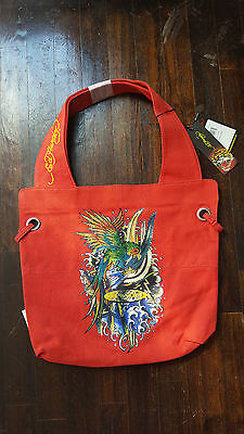 d8f39f2d627e ED HARDY RED Bird Canvas Tote Bag Authentic -  9.99