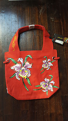 7cd0b4f7dae6 ED HARDY RED Floral Canvas Tote Bag Authentic -  9.99