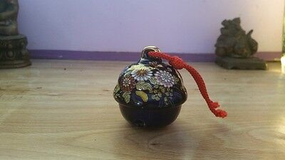 "JAPANESE CERAMIC BELL  (KUTANI) about 2.25"" x 2.75""  blue with cloisonne look"