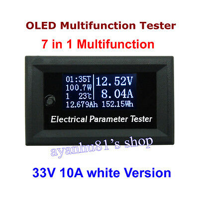 10A OLED Tester Power Meter Monitor Voltage Current Wh Time Watt Temp 7 in 1 12V