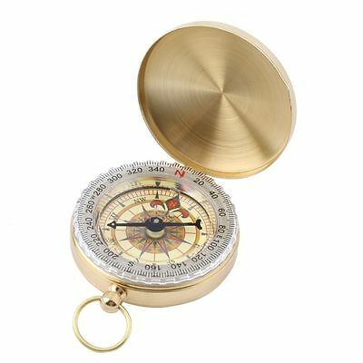 Brass Pocket Watch Style Outdoor Camping Hiking Compass Navigation Keychain AB