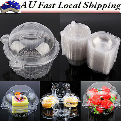 100 Clear Plastic Food Cupcake Cake Food Case Muffin Dome Takeaway Box Container