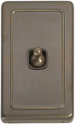 Antique Brass Light Switch. 1 Gang Toggle. Clip On Plate 72x115mm. SW5892