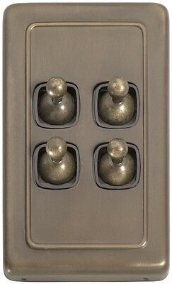 Antique Brass Light Switch. 4 Gang Toggle. Clip On Plate 72x115mm. SW5895