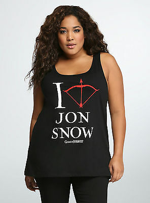 cdf90749 Torrid Game Of Thrones JON SNOW Women's Girls Plus Size Tank Top T-Shirt NWT