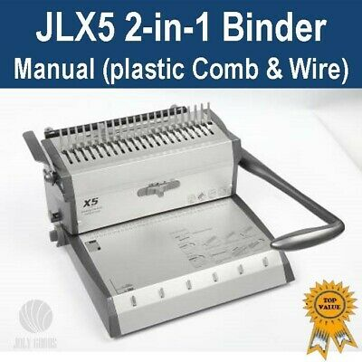 New Plastic Comb & Wire 2-in-1 Binder / Binding Machine (JLX5) -Can bind A3 doc.