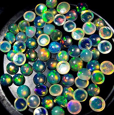 5 Pc 4 MM AAA+ Ethiopian Fire Opal Calibrated Round Cabochons RAINBOW POWER