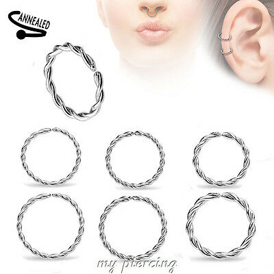 2pc 20g,18g 16g,14g Steel Braided Seamless Hoop Ears Cartilage Septum Nose Ring