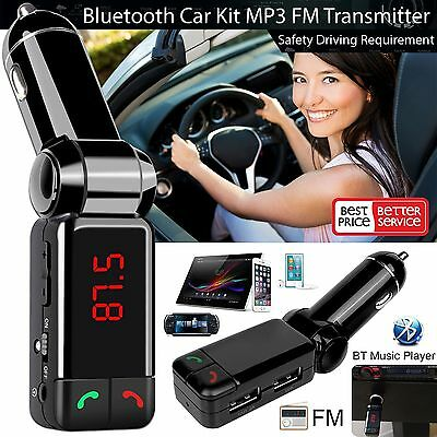 New LCD Bluetooth Car Kit MP3 FM Transmitter 2 USB Charger Handsfree for iPhone