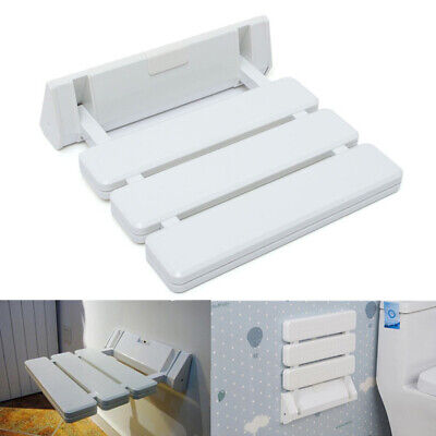 [NEW] Wall Mounted White Folding Shower Seat Foldable Stool For Bathroom