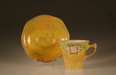 James Kent Ltd. Yellow Floral Cup and Saucer with Floral Handle,  England c.1930