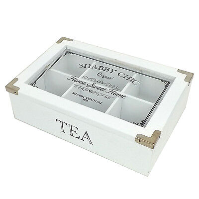 Shabby Chic Vintage Rustic Tea Bag Box Caddy Storage Chest - White