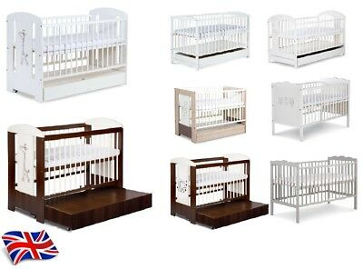 Baby Safari Wooden White Or Brawn Or Grey Cot Bed With Drawer With Mattress