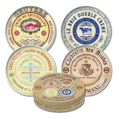 Creative Tops Gourmet Cheese Set of 4 Cheese Plates in Presentation Hat Box