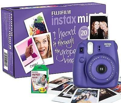 Fuji Instax Mini 8 Instant Photo Camera Grape Purple w/ 20 Instax Films