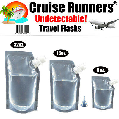 Cruise Flask Kit Runners Rum Sneak Smuggle Alcohol Liquor Booze Plastic Tailgate