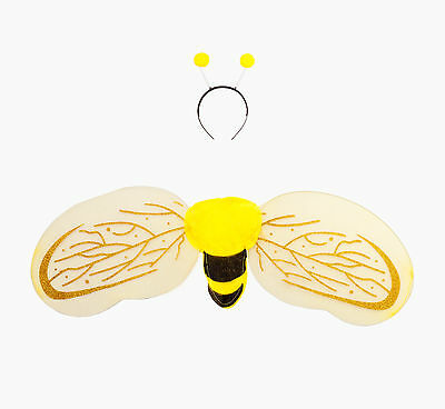 Fancy Dress Bumble Bee Wings and Antenna Headband with Yellow Pom Poms