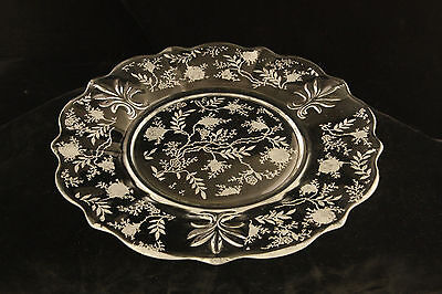 Vintage Fostoria Glass Crystal Chintz Etch Baroque Salad Or Luncheon Plate