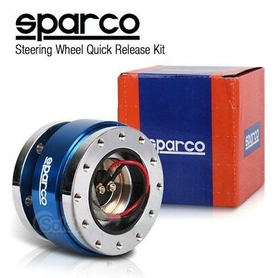 New SPARCO 2 Tone Silver/Blue Steering Wheel Quick Release Snap Off Boss Kit