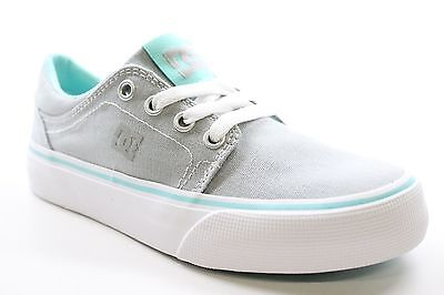 New DC Shoes Girls Trase TX Low Top Casual Sneaker Shoes Gray/Blue Size 1 BW1