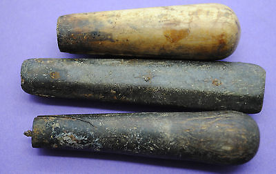 Group of 3 Medieval kn1fe and fork handles 15th century AD Thames foreshore