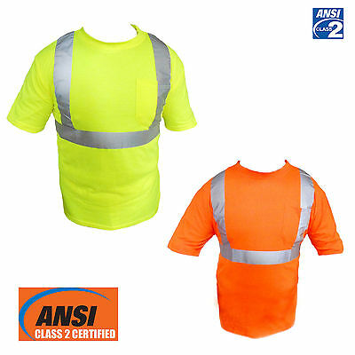 ANSI Class II Reflective Safety Yellow/Orange Short Sleeve T-Shirt HIGH VIZ