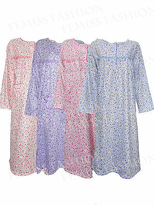 Womens Floral Pyjamas Night Wear Nighty Cotton Full Sleeves Ladies Shirt Nightie