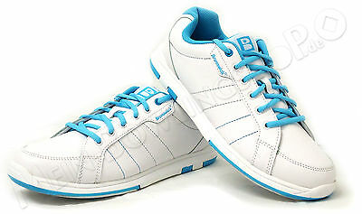Bowling Shoes Women Bru ick Satin white/blue for Right and Left-handed