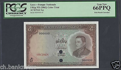 Lao 5 Kip ND(1962) P9ct Color Trial Uncirculated