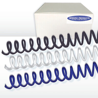 20mm 4:1 Plastic Spiral Binding Coil-100/box, Black, White, or Navy