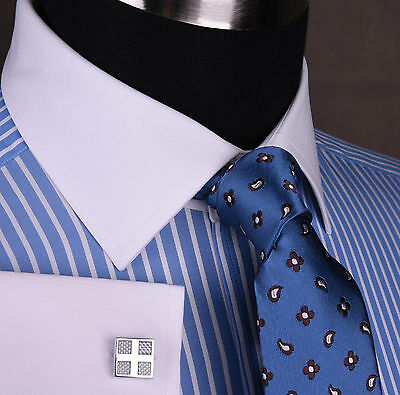 Blue Twill Striped Mens Formal Business Dress Shirt Contrast White Double Cuff